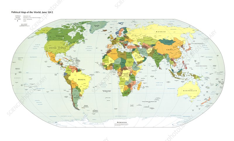 Political map of the world, 2012