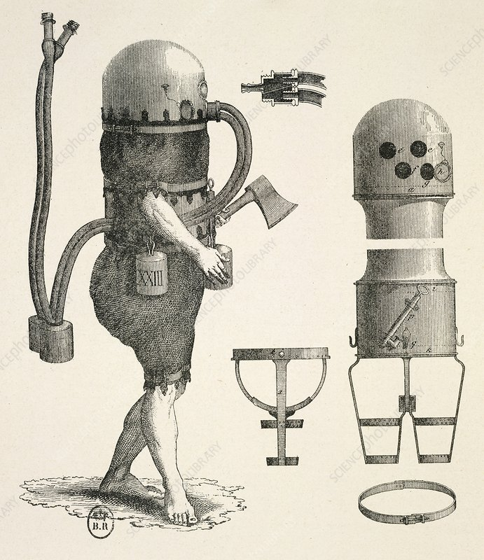 Diving suit and equipment, 18th century