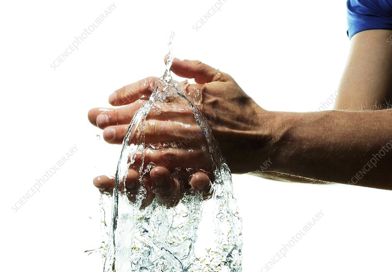 Washing hands in water, high-speed image