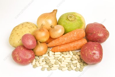 Vegetables and supplement pills