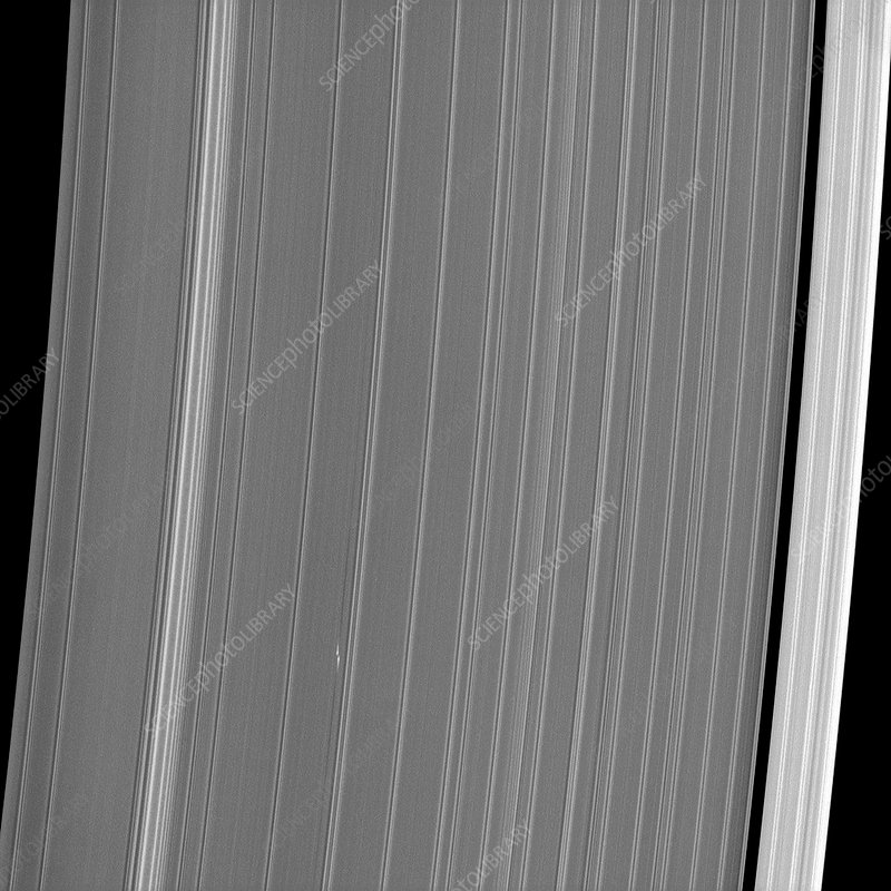 Saturn's rings and moonlet, Cassini image