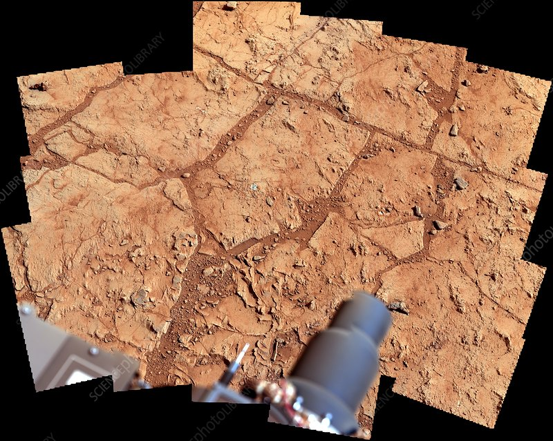 Curiosity rover drill area on Mars, 2013
