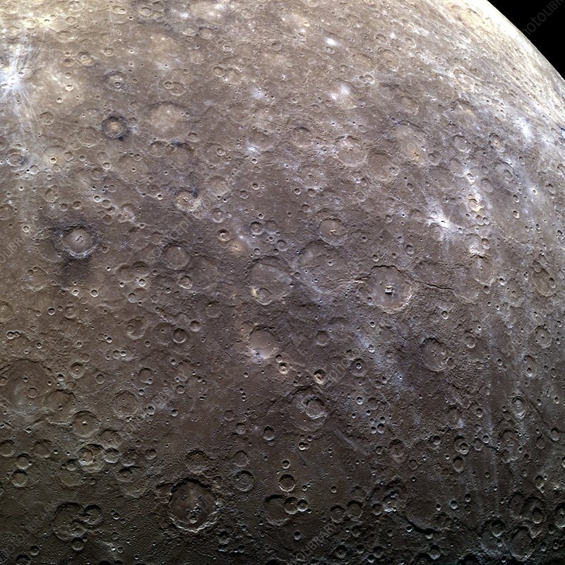 Craters on Mercury, MESSENGER image