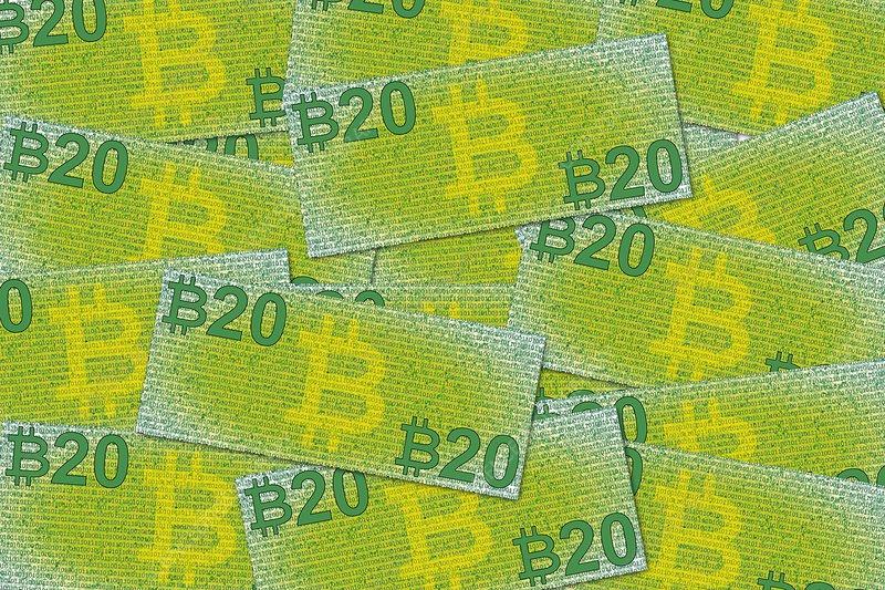 Bitcoin notes, conceptual artwork