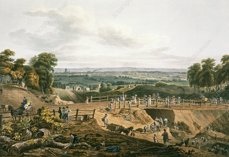 Highgate Archway excavations, 1812