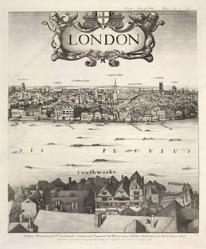 Hollar's panorama of London, 1647