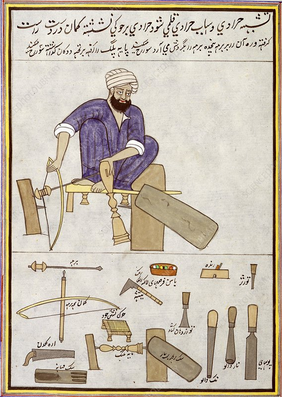 Woodturning craftsman in India, 1850s
