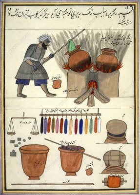 Man dyeing cloth in India, 1850s
