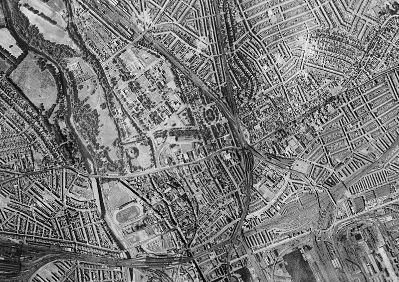 Cardiff Historical Aerial Photograph Stock Image C - Historical aerial maps