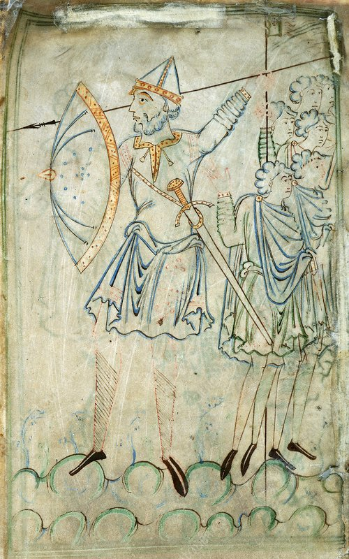 Goliath in battle, 11th-century artwork