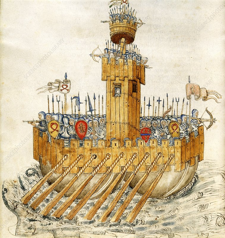 Medieval armed ship, 15th century