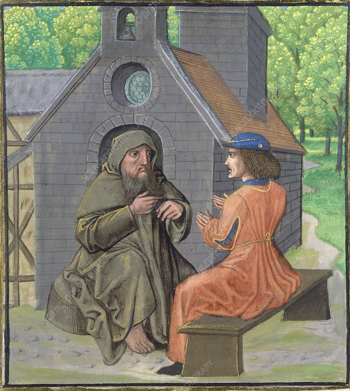 Hermit instructing a knight, 15th century