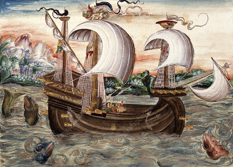 Galleon sails to Portugal, 16th century