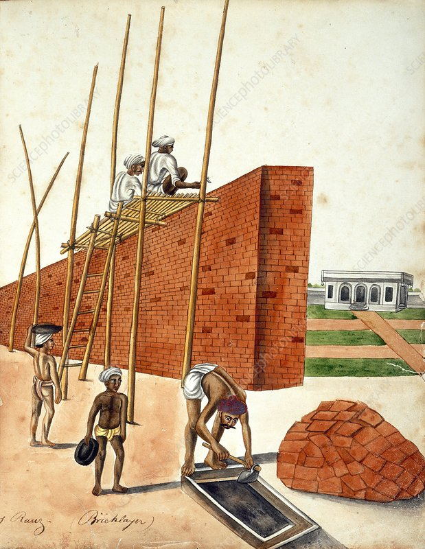 Mud wall construction in India, 1810s