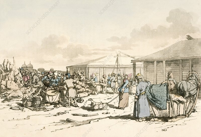 Open-air meat market, Russia, 1800s