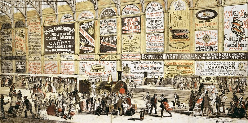 Railway station advertising, 1870s