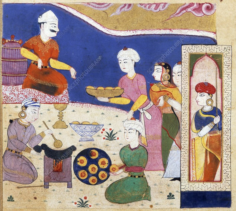Indian food preparation, 1500s