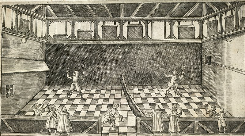 Game of real tennis, 17th century