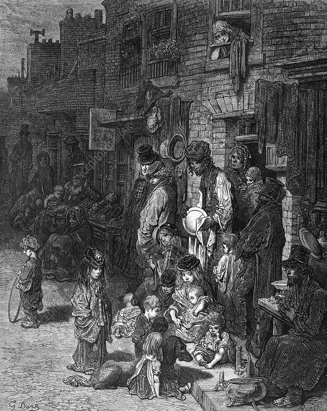 The poor of London, 19th century artwork