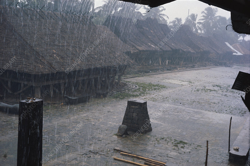 Monsoon Rain in Indonesian Hut Village
