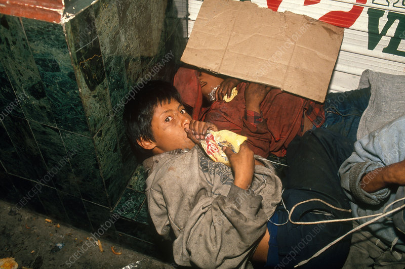Homeless Boy Sniffing Glue, Guatemala