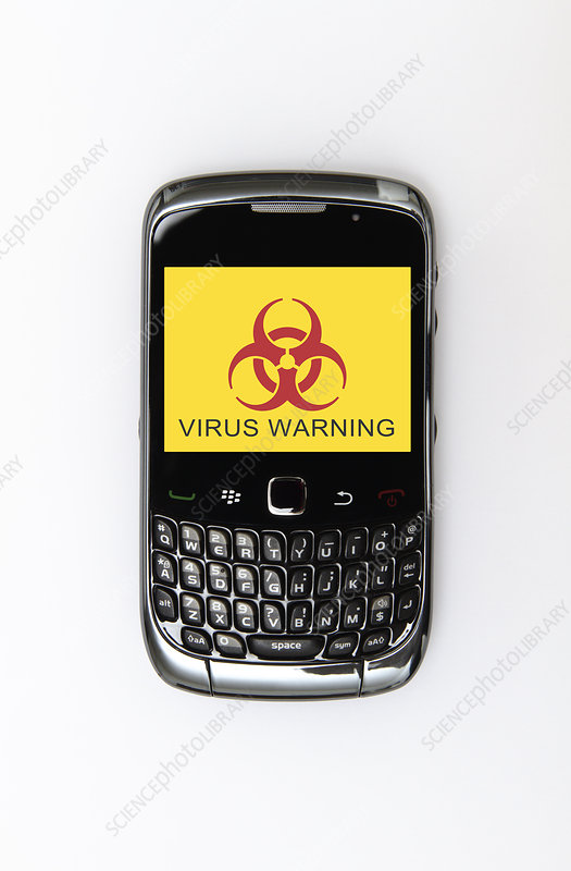 Mobile phone infected with a virus