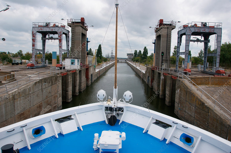 Boat entering lock, Ukraine