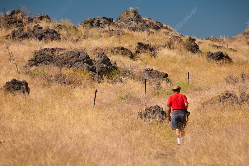 Hiker, Lava Beds National Monument, CA