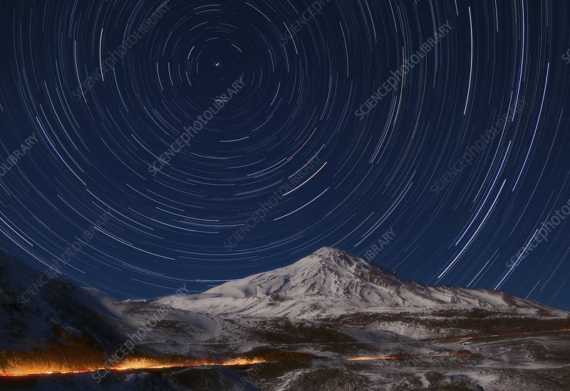 Star trails over Alborz Mountains, Iran