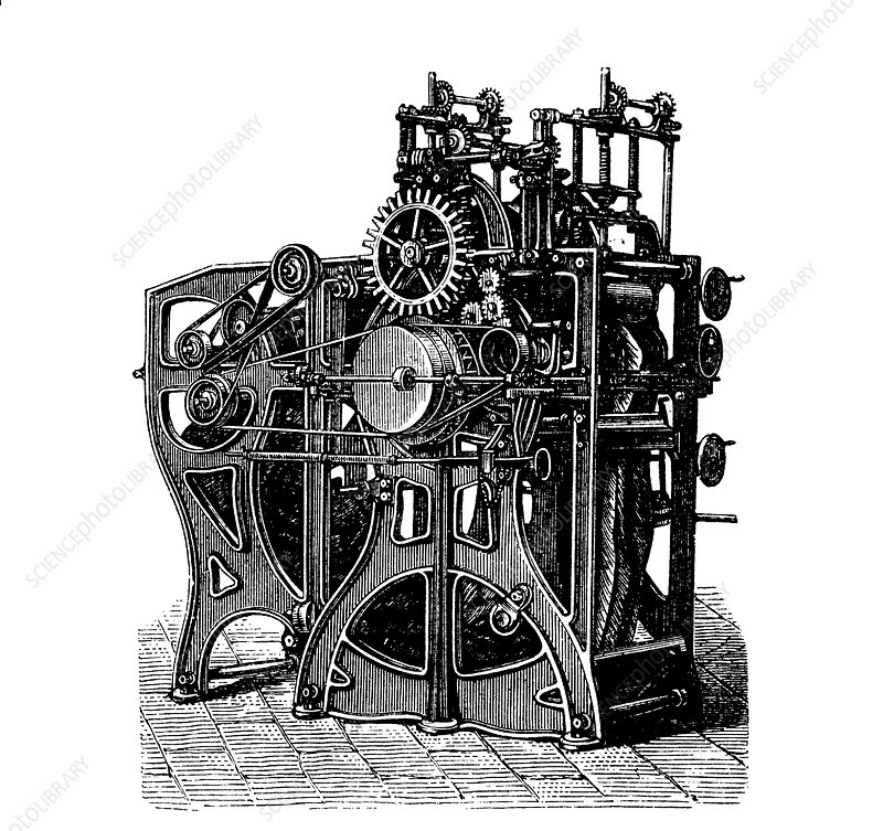Textile finishing machine, 1880s
