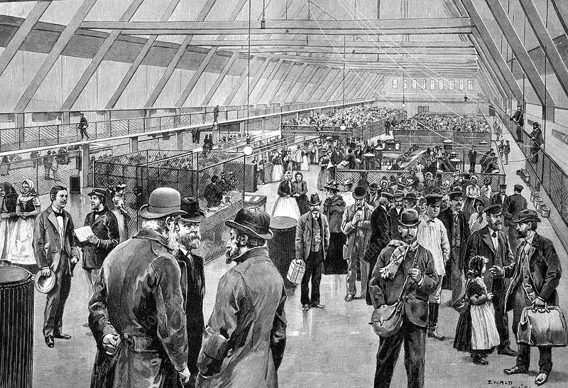 Ellis Island immigration hall, 1890s