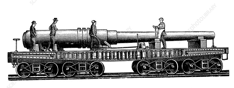 Large gun carriage, 1880s
