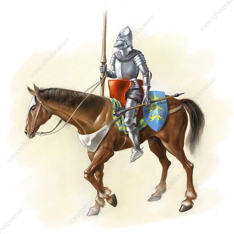 Medieval knight on horseback, artwork