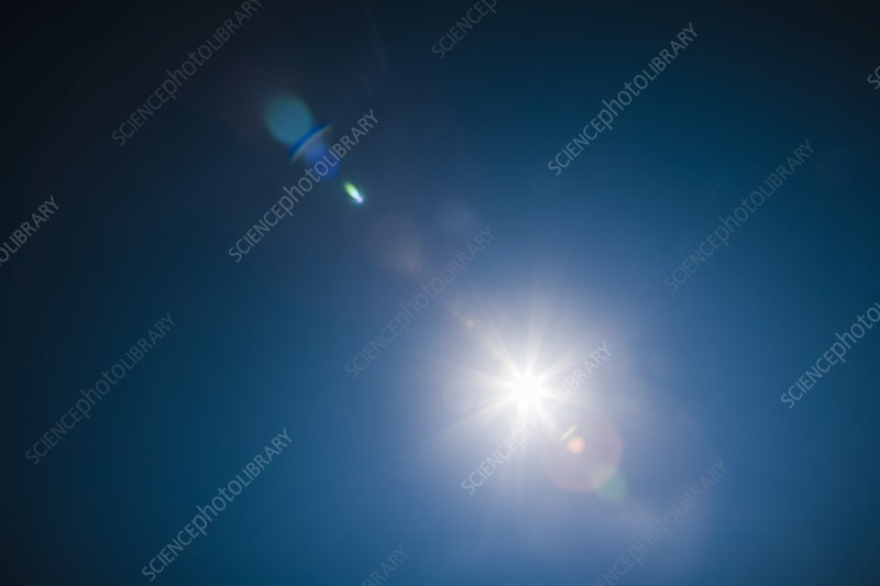 Deep blue sky looking at the sun.