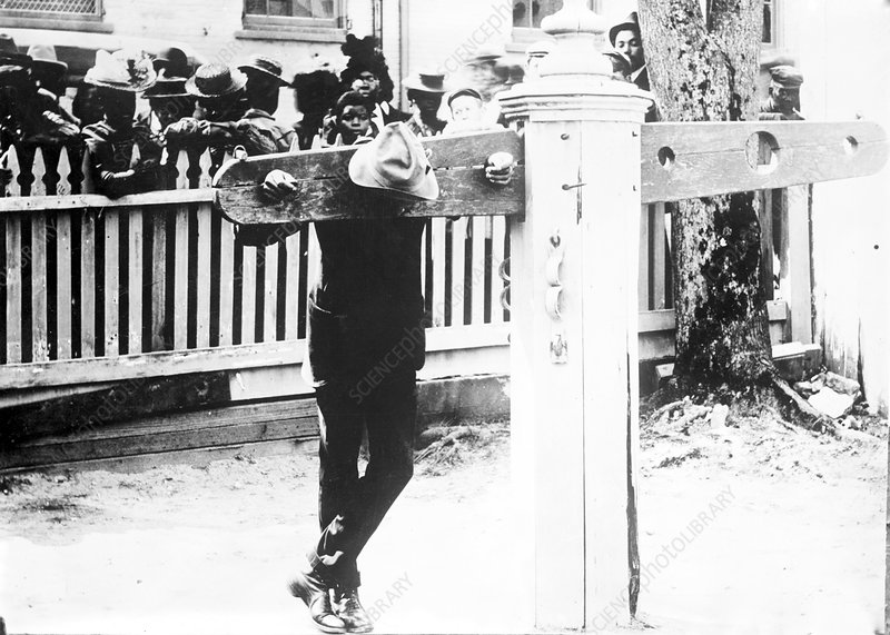 Punishment by pillory, historical image