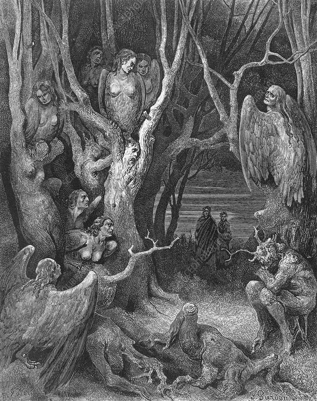 Dante's Inferno, suicides and the Harpies