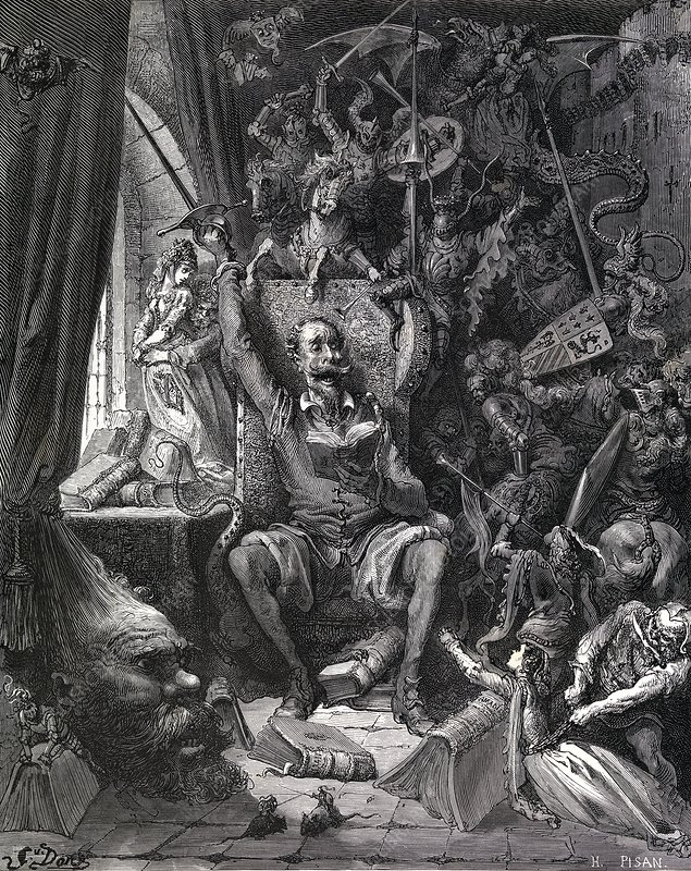 Cervantes's Don Quixote in his library