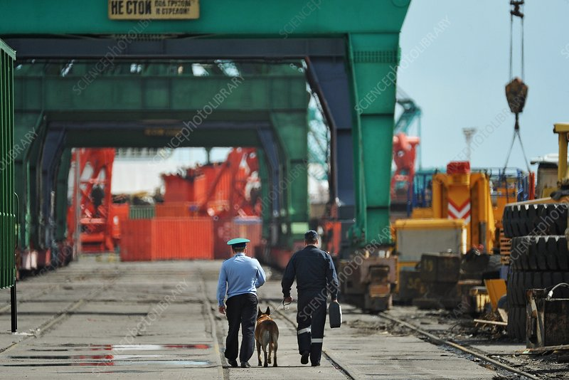 Security guards on a cargo wharf