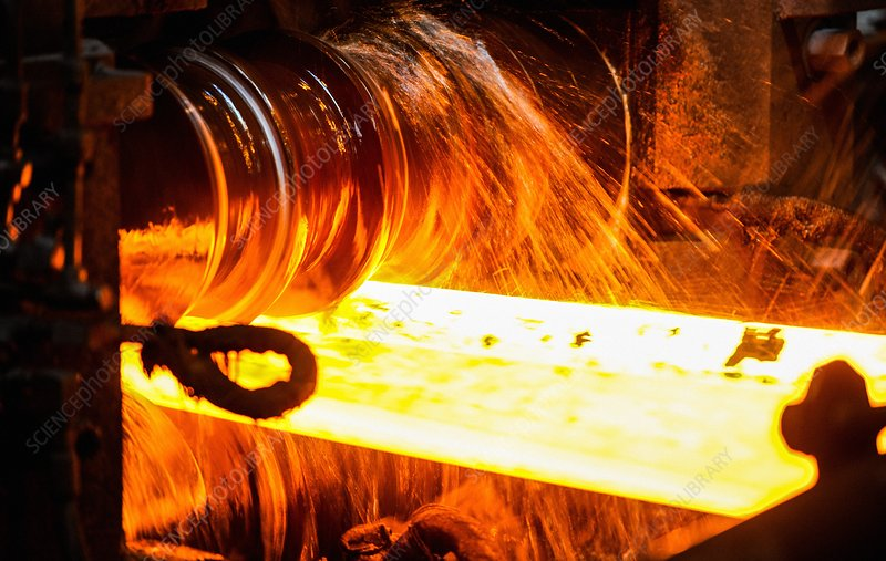 Rolling a rail at a steel mill