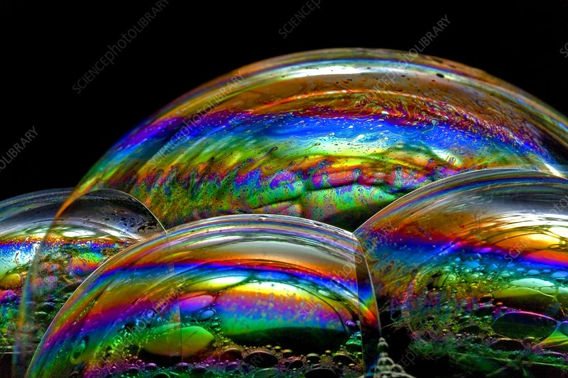 Soap bubble iridescence