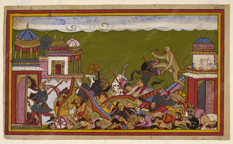 Hanuman fighting Ravana's army