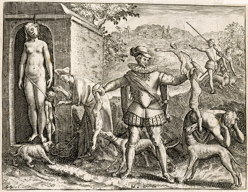 Spanish hunting Indians