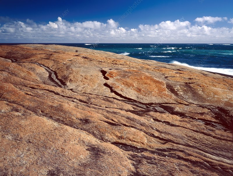 Exfoliation of coastal rocks