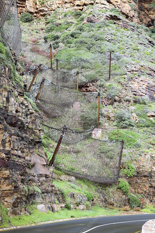 Rockfall nets on a cliff