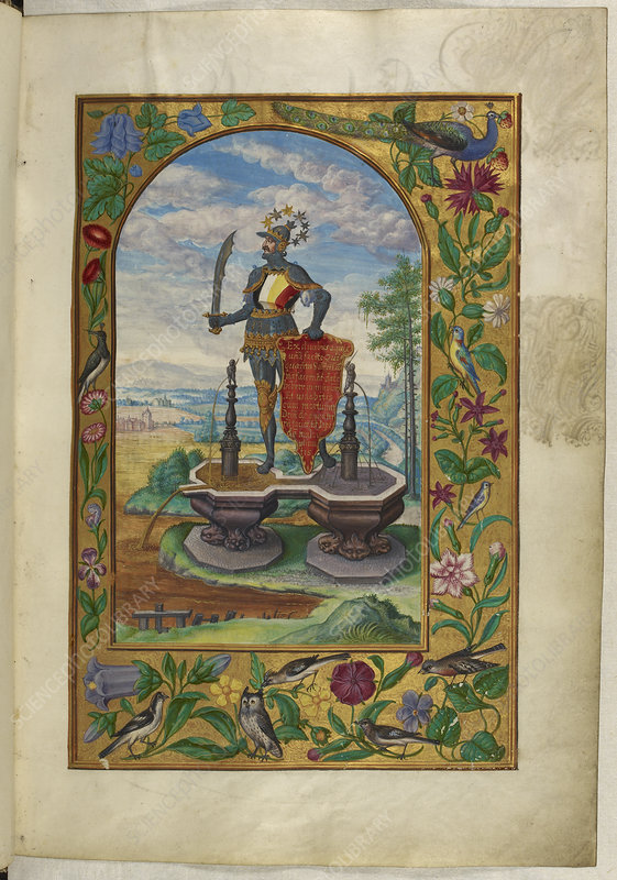 Knight standing on fountains