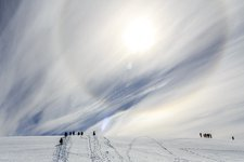 Cirrus clouds and ice halo, Antarctica