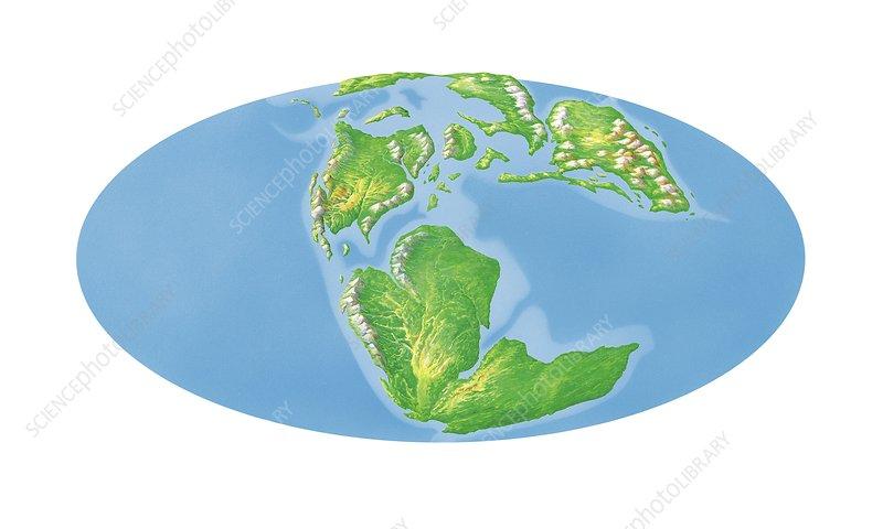 Jurassic world map, artwork - Stock Image C018/0198 - Science Photo ...