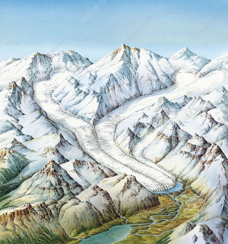 Glacier geography, artwork