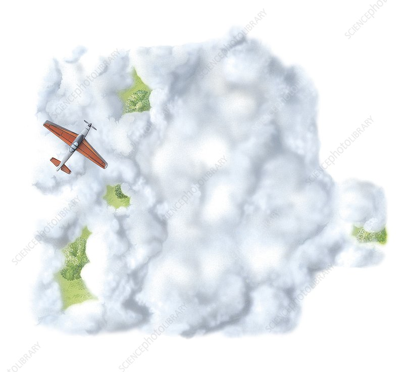 Aeroplane flying above clouds, artwork