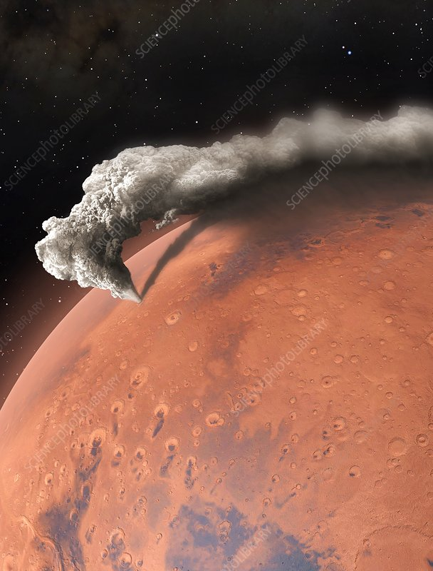 Artwork of supervolcano erupting on Mars